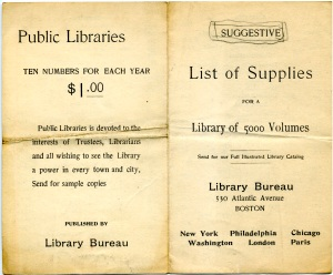 Front of pamphlet listing supplies needed to run a small library