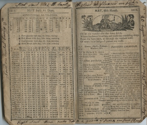 Interior pages and notes for a New England Farmer's Almanac in 1816