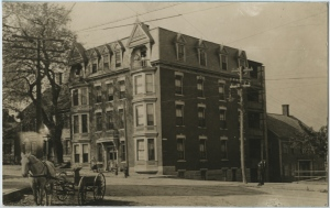 Apartment building, unknown location, circa 1900