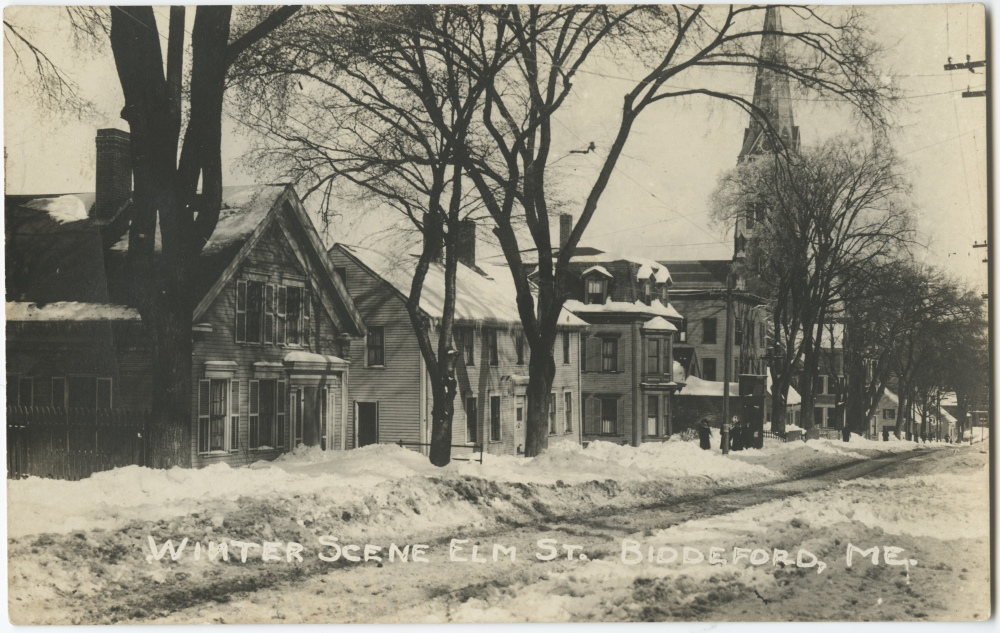 Postcard Carr 619. Homes along Elm Street near South Street (200 block).
