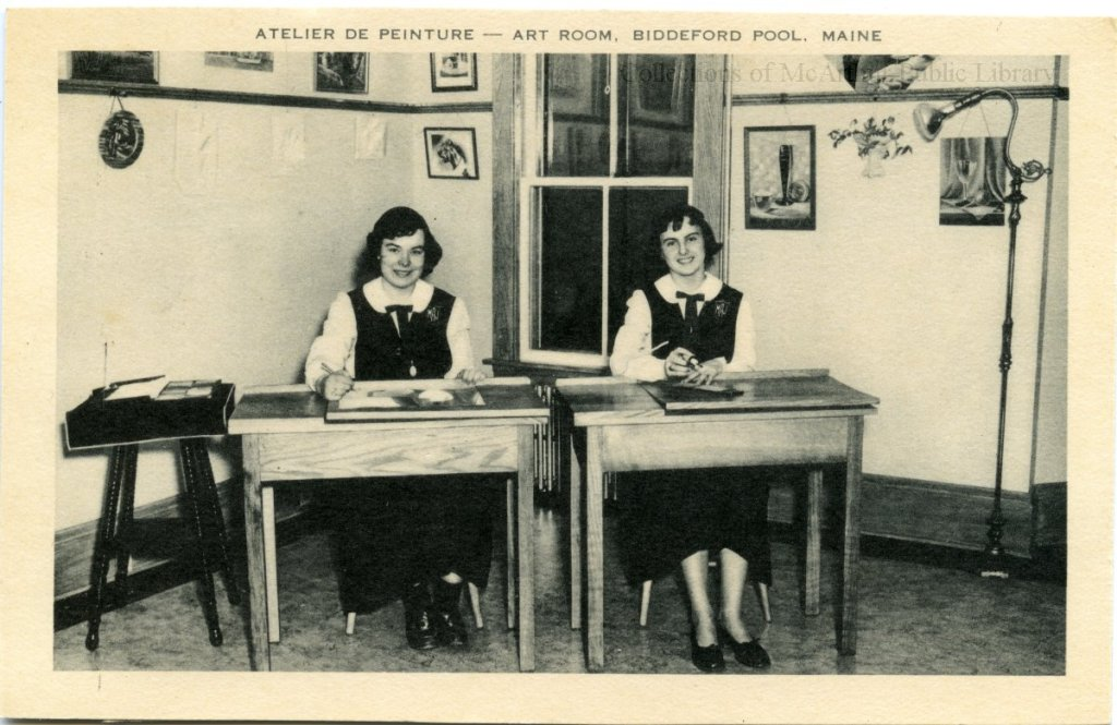 "Marie-Joseph Academy students on a postcard titled ""Atelier de peinture - Art Room, Biddeford Pool, Maine"""