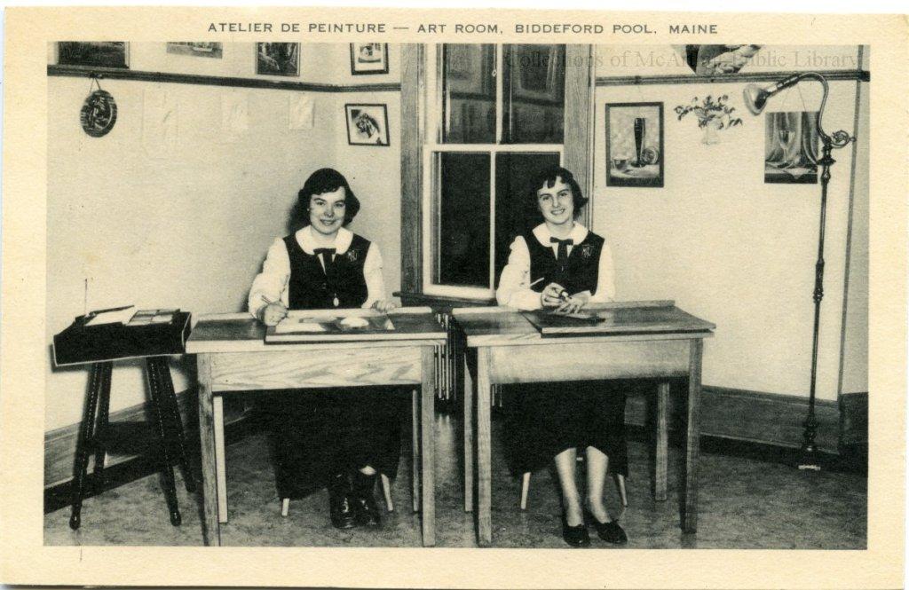 "Marie-Joseph Academy students on a postcard titled ""Atelier de peinture - Art Room, Biddeford Pool, Maine"""